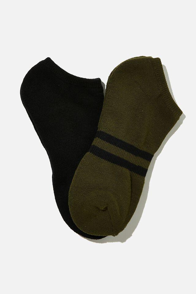 Ankle Socks 2 Pack, KHAKI SPORT STRIPE/BLACK