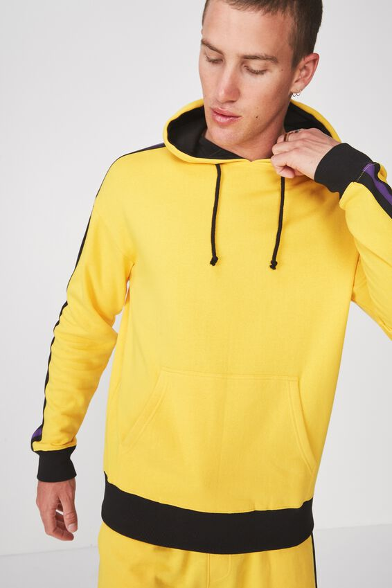Drop Shoulder Pullover Fleece, SAFETY YELLOW/BLACK & PURPLE TAPING