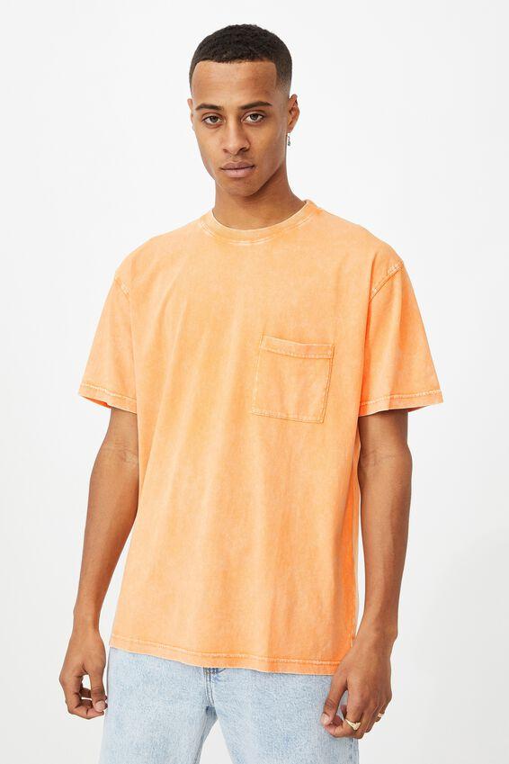Washed Pocket T-Shirt, RAVE ORANGE