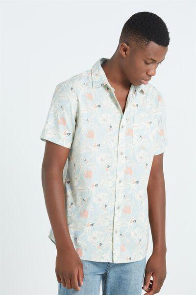 Sunset Short Sleeve Shirt, LIGHT BLUE PARROT