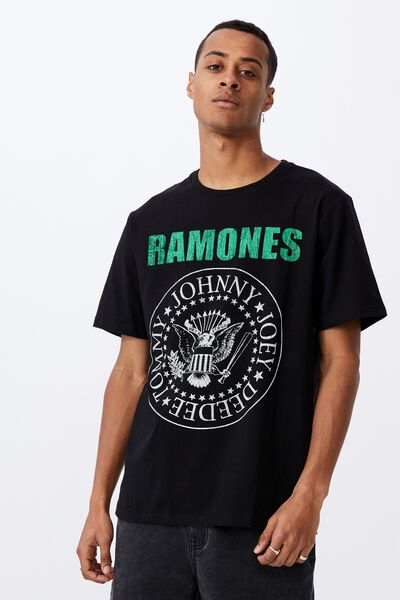Tbar Collab Music T-Shirt, LCN MT BLACK/RAMONES-WINTER 1978