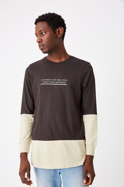 Long Sleeve Curved Hem, WASHED BLACK/PALE SAND/DISRUPTING THE HIVE