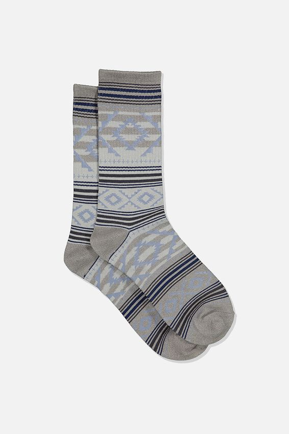 Single Pack Active Socks, GREY MARLE STEEL BLUE AZTEC STRIPE