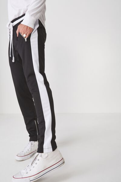 Urban Side Stripe Track Pant, BLACK/WHITE PANEL