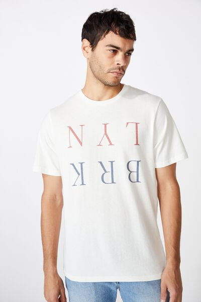 Tbar Text T-Shirt, VINTAGE WHITE/BRKLYN FLIPPED
