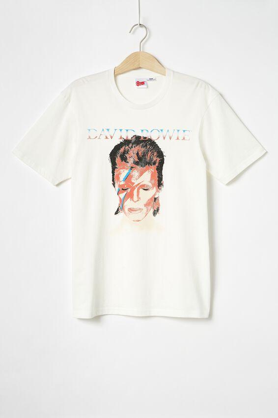 Tbar Collab Music T-Shirt, LCN PER VINTAGE WHITE/DAVID BOWIE - PORTRAIT