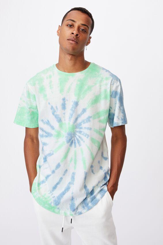 Longline Scoop Lounge T-Shirt, BLUE WASH TIE-DYE