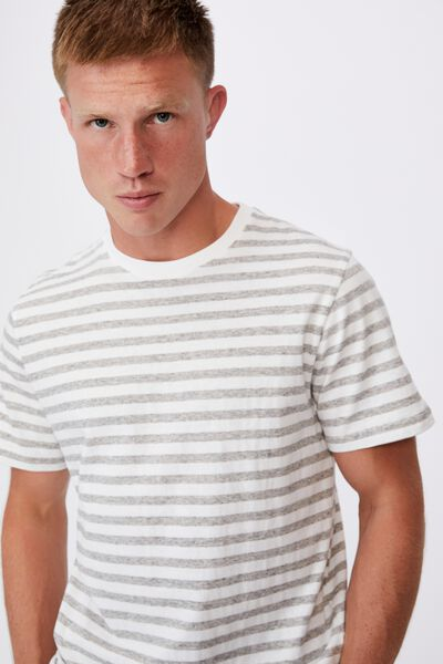 Graduate T-Shirt, NEPPY GREY MARLE/VINTAGE WHITE 50/50 STRIPE