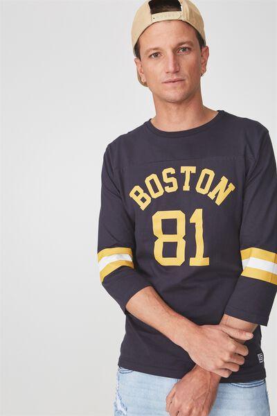 Tbar 3/4 Baseball Tee, TRUE NAVY/ARTISAN GOLD/WHITE/BOSTON 81 STRIPE