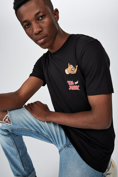 Tbar Collab Cny T-Shirt, LCN WB BLACK/TOM AND JERRY - POCKET