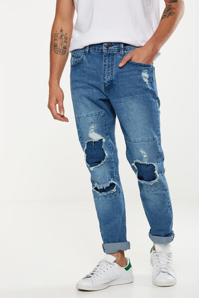 Tapered Leg Jean, HIGHWAY BLUES + PATCHES