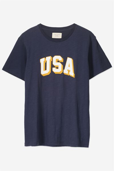 Tbar Tee 2, TRUE NAVY SLUB/USA BLOCK