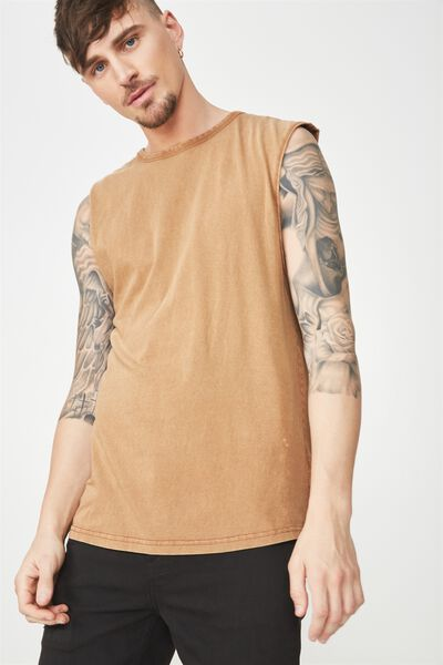 Drop Shoulder Muscle, WASHED DACHSHUND BROWN