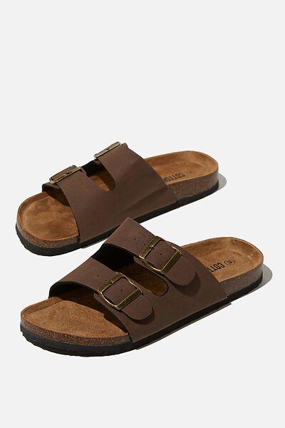 Double Buckle Sandal, DARK BROWN