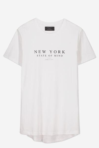 Longline Scoop Hem Tee, WHITE/NEW YORK STATE OF MIND