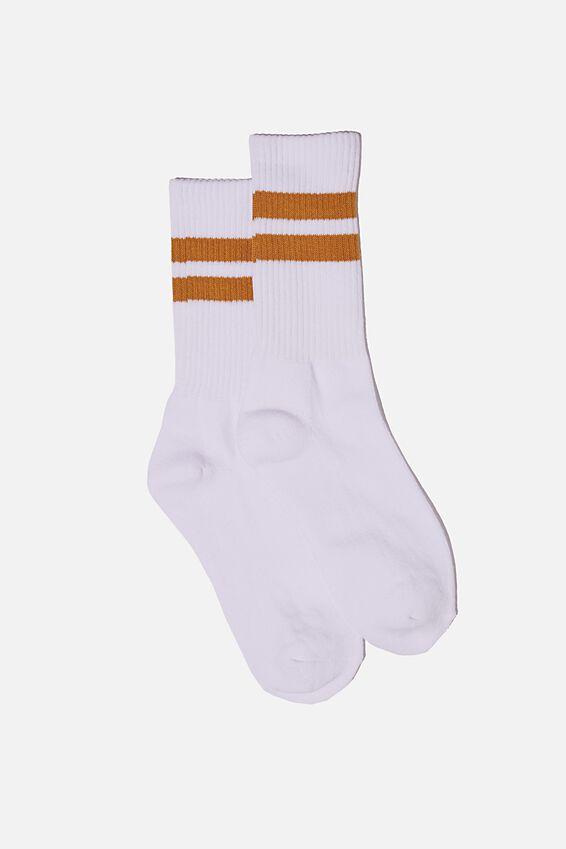 Essential Active Sock, WHITE/MUSTARD/SPORT STRIPE
