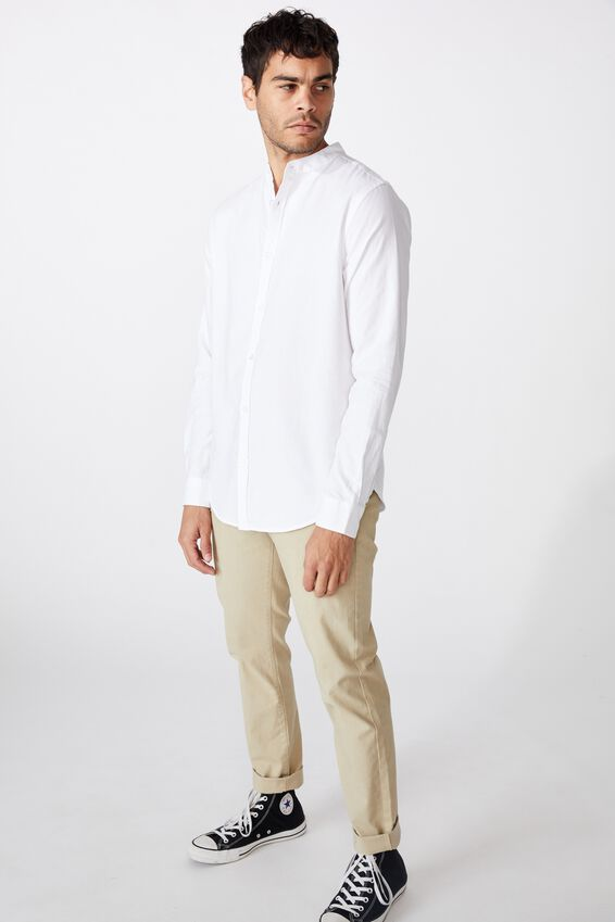 Banded Collar Shirt, WHITE