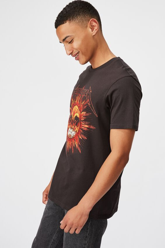 Tbar Collab Music T-Shirt, LCN PRO WASHED BLACK/METALLICA - SUN