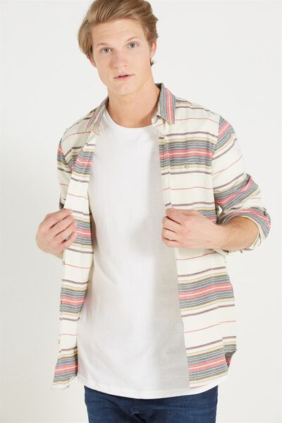 Rugged Long Sleeve Shirt, NATURAL STRIPE