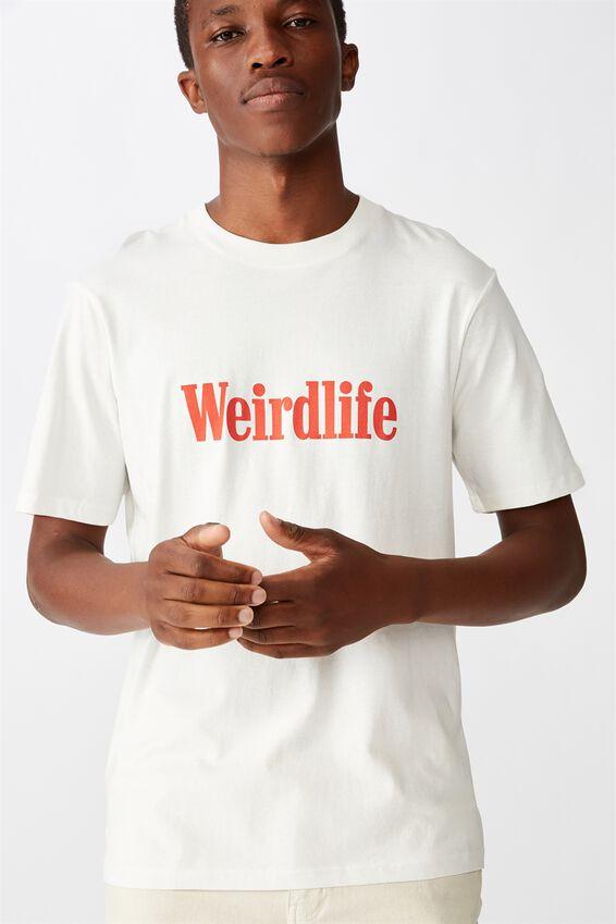 Tbar Text T-Shirt, SK8 VINTAGE WHITE/WEIRD LIFE
