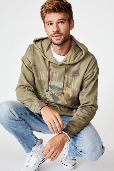 Drop Shoulder Pullover Fleece, ARMY ORIGINAL/STEEL TIE DYE