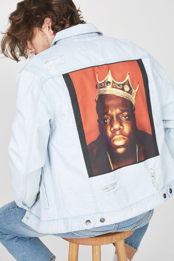 The Notorious B.I.G Denim Jacket, BIGGIE KING/BLEACH