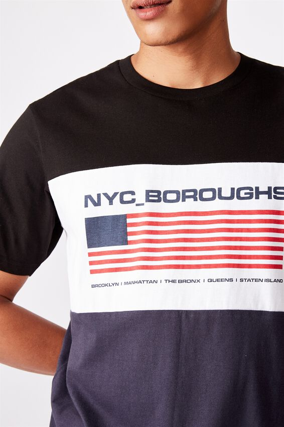 Tbar Street T-Shirt, BLACK/WHITE/TRUE NAVY/BOROUGHS FLAG