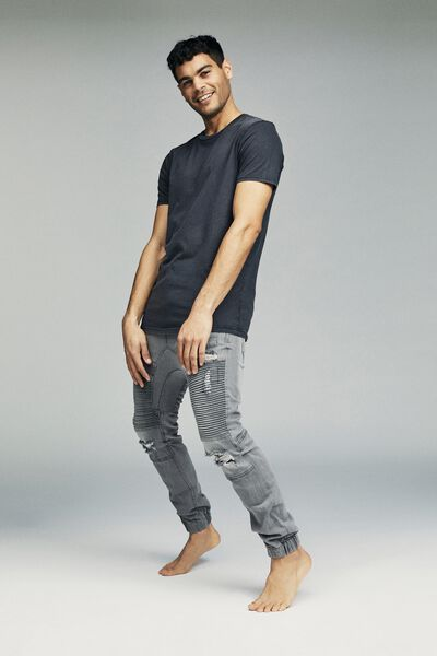Slim Denim Jogger, OFF GREY MOTO RIPS