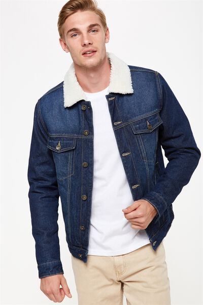 Borg Denim Jacket, RAW RINSE