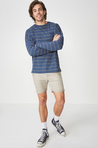 Drop Shoulder Long Sleeve, MOONLIGHT BLUE/BAMBOO YELLOW ACID STRIPE