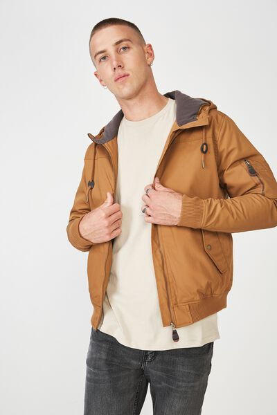 Ma1 Hooded Bomber Jacket, TOBACCO