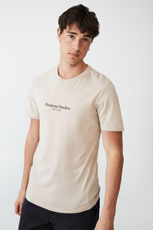 Tbar Text T-Shirt, IVORY/WEEKEND STUDIOS SERIF