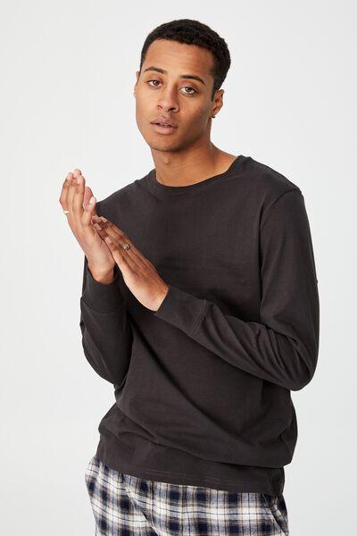Organic Sleep Jersey Long Sleeve T-Shirt, WASHED BLACK