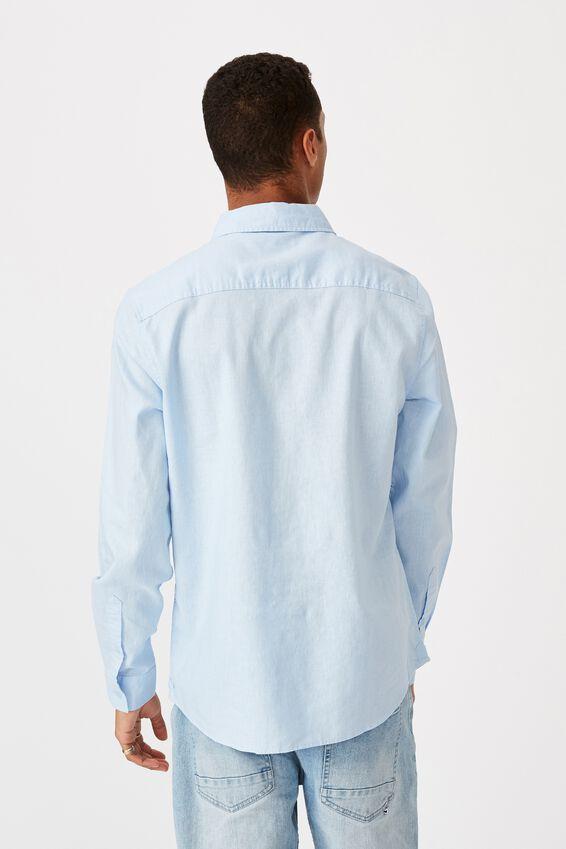 Linen Cotton Long Sleeve Shirt, BRIGHT SKY