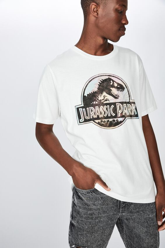 Tbar Collab Movie And Tv T-Shirt, LCN UNI SK8 VINTAGE WHITE JURASSIC PARK - TIE
