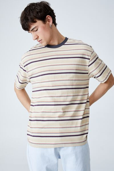 Loose Fit T-Shirt, LIGHT CAMEL MIXED STRIPE