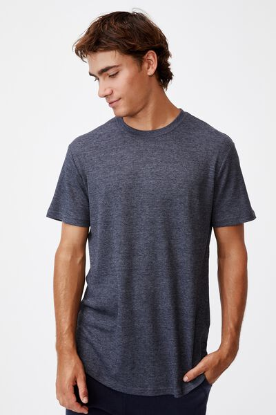 Longline Scoop Waffle T-Shirt, NAVY MARLE
