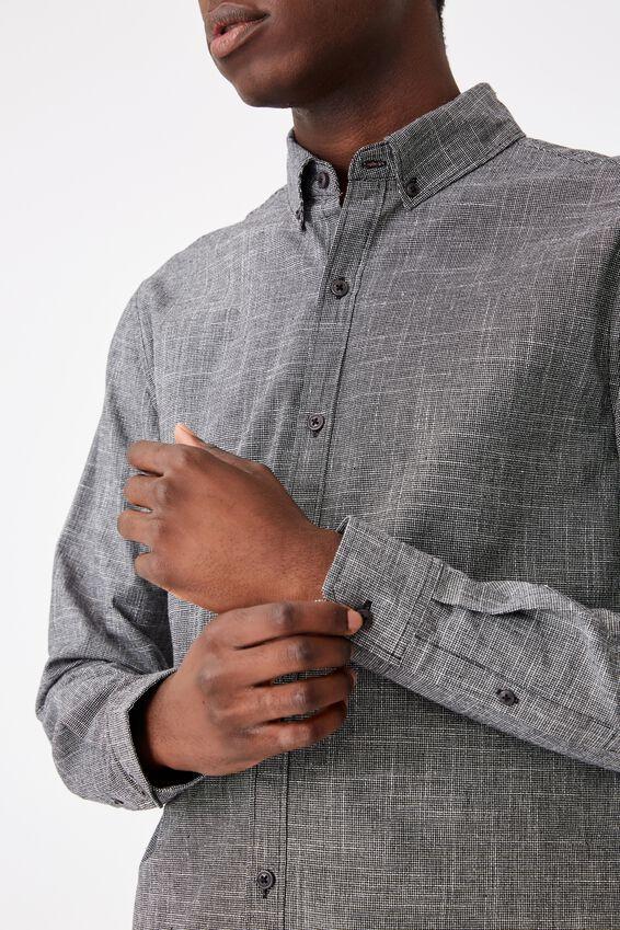 Textured Long Sleeve Shirt, TEXTURED BLACK