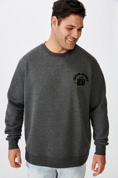 Bg Crew Fleece 2, CHARCOAL MARLE/RESIN &GLASS