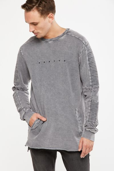 Moto Crew Fleece, BLUESTONE GREY ACID/BRKYLN SPACE