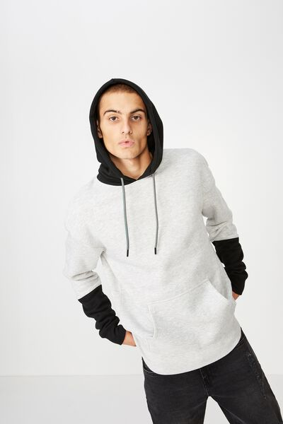 Drop Shoulder Pullover Fleece, LIGHT GREY MARLE/BLACK/SLEEVE BLOCK