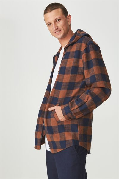 Zip Hood Shirt, NAVY BURNT ORANGE CHECK