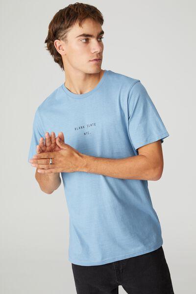 Tbar Text T-Shirt, CHALK BLUE/BLANK SLATE