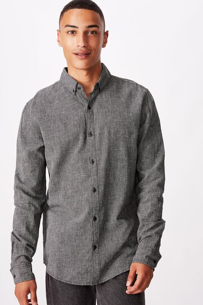 Textured Long Sleeve Shirt, BLACK