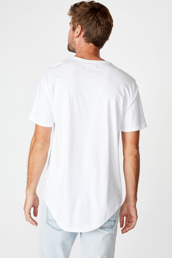 Longline Scoop Tee, WHITE/YOUTH RIOT