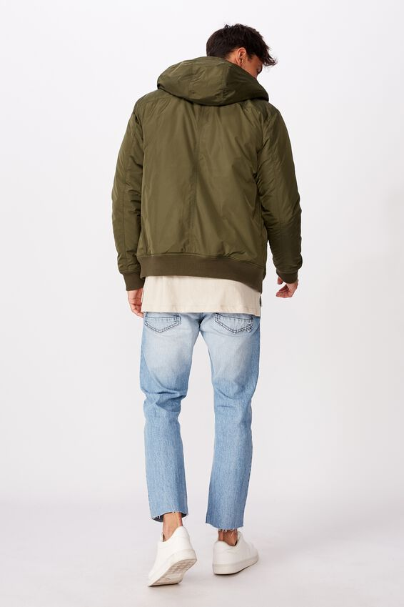 Sherpa Hooded Bomber Jacket, OLIVE