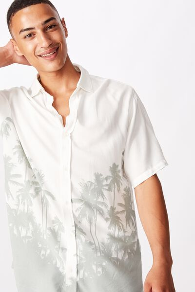 Short Sleeve Resort Shirt, TONAL LANDSCAPE