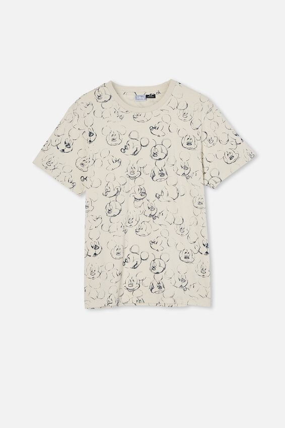 Tbar Collab Character T-Shirt, LCN DIS BONE/MICKEY MOUSE-SKETCH
