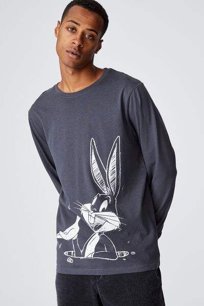 Lounge Long Sleeve T-Shirt, LCN WB LATE NIGHT BLUE/LOONEY TUNES - BUGS SK