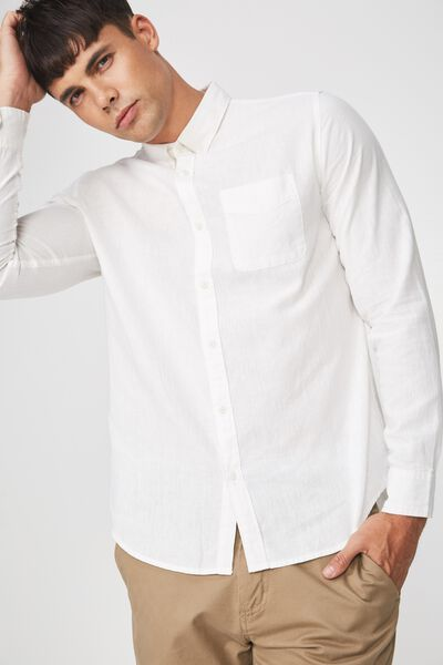a3d28418d Premium Linen Cotton Long Sleeve Shirt, WHITE. Cotton On Men